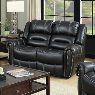 Furniture of America Dylan Black Leatherette Power-Assist Reclining Loveseat