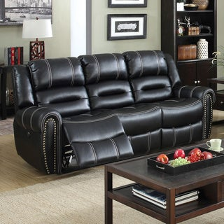 Furniture of America Dylan Black Leatherette Power-Assist Reclining Sofa