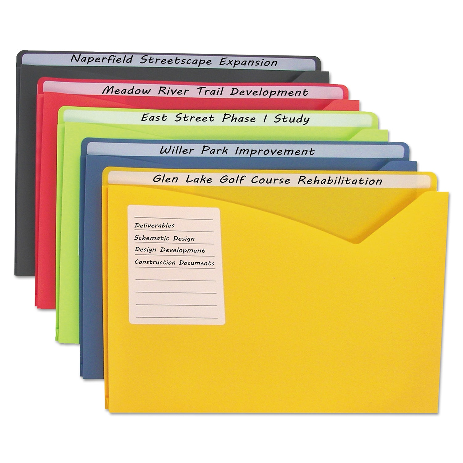 C-LINE Write-On Assorted Expanding Poly File Folders (Box...