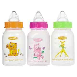 Evenflo Orange/Pink/Green 4-ounce Zoo Friends Bottle with Standard Nipple (Pack of 3)