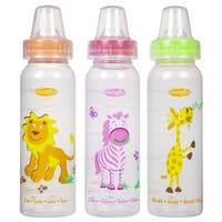 Evenflo Zoo Friends Orange, Pink, Green Co-polyester 8-ounce Bottle With Standard Nipple (Pack of 3)