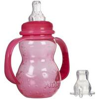 Nuby Pink Plastic 7-ounce 3-stage Grow Non-drip Bottle