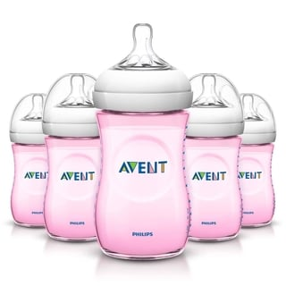 Philips Avent Pink Natural 9-Ounce Bottle (Pack of 5)