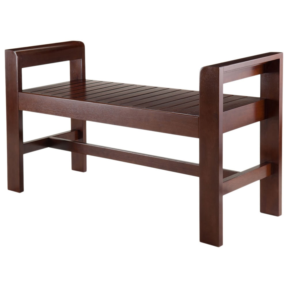 Winsome Home Thomas Espresso Wood Indoor Slatted Seat Ben...