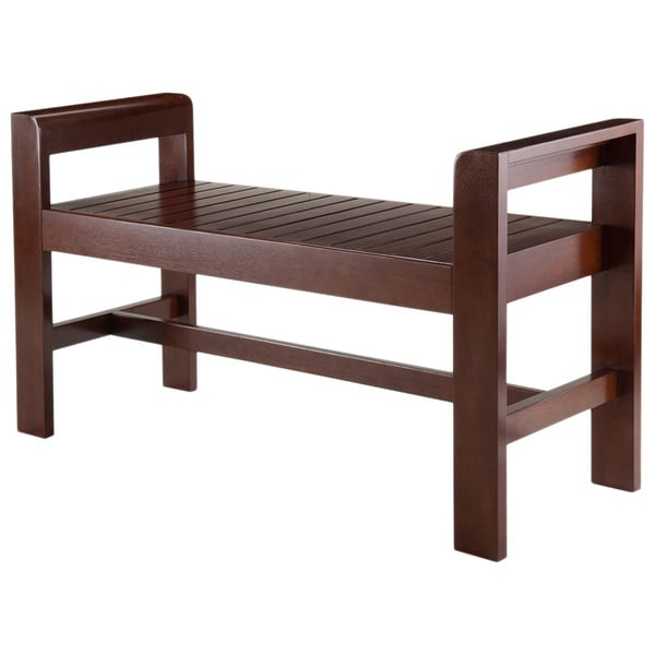Winsome Home Thomas Espresso Wood Indoor Slatted Seat Bench With Comfortable  Armrest