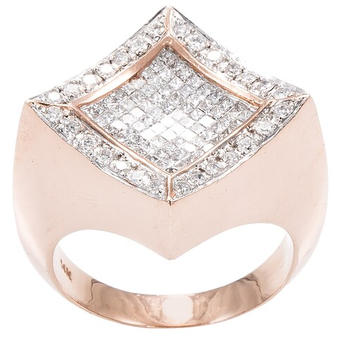 14K Rose Gold 2ct TDW Square Top Invisible-set Diamonds Estate Ring (G-H, SI1-SI2)