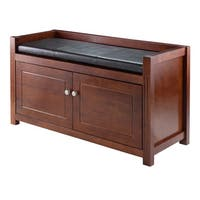 Winsome Walnut/Espresso Wood/Faux Leather 2-piece Cabinet Hall Storage Bench with Cushion Seat