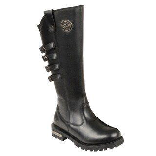 Women's Black Leather Waterproof Motorcycle Boots