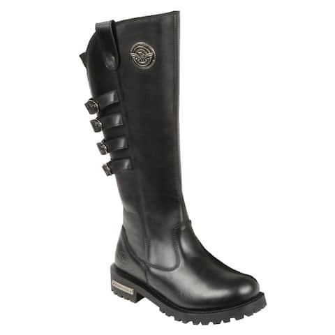 Women's Black Leather Waterproof Motorcycle Boots