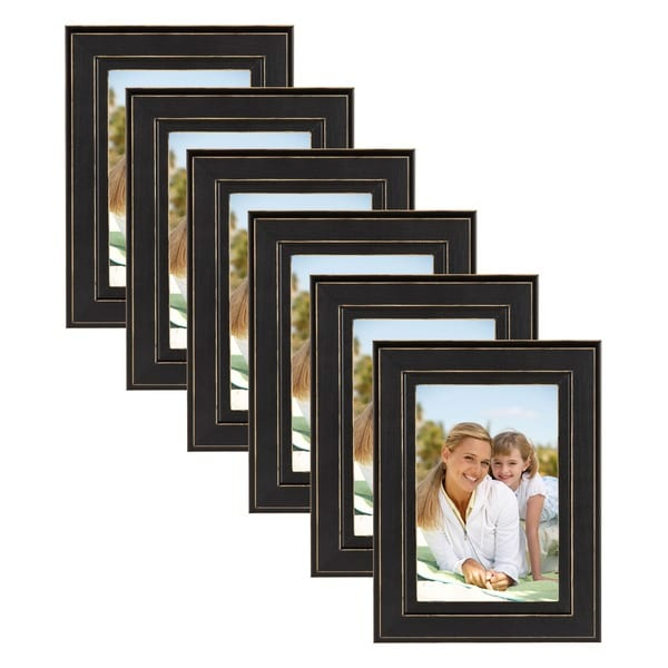Casual Distressed Black Wood Picture Frame (Set of 6) - Free ...