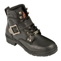 Women's Black Leather Side Buckle Plain Toe Boots