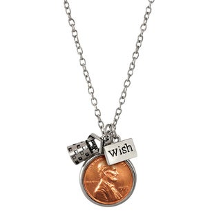 American Coin Treasures Wishing Well Silvertone Steel Penny Charm Necklace