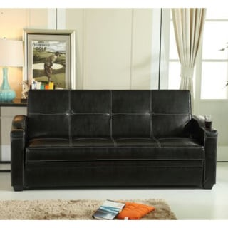 Hodedah Black/Brown Synthetic/Faux Leather Storage Sofa Bed