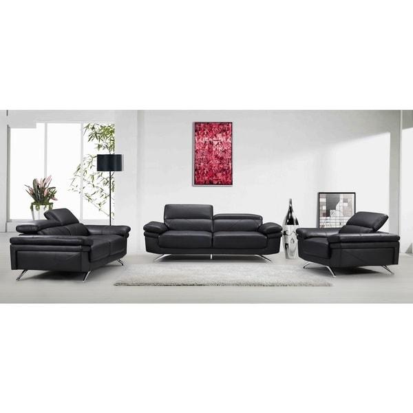 Madison Black Fabric Faux Leather Wood Sofa Loveseat And