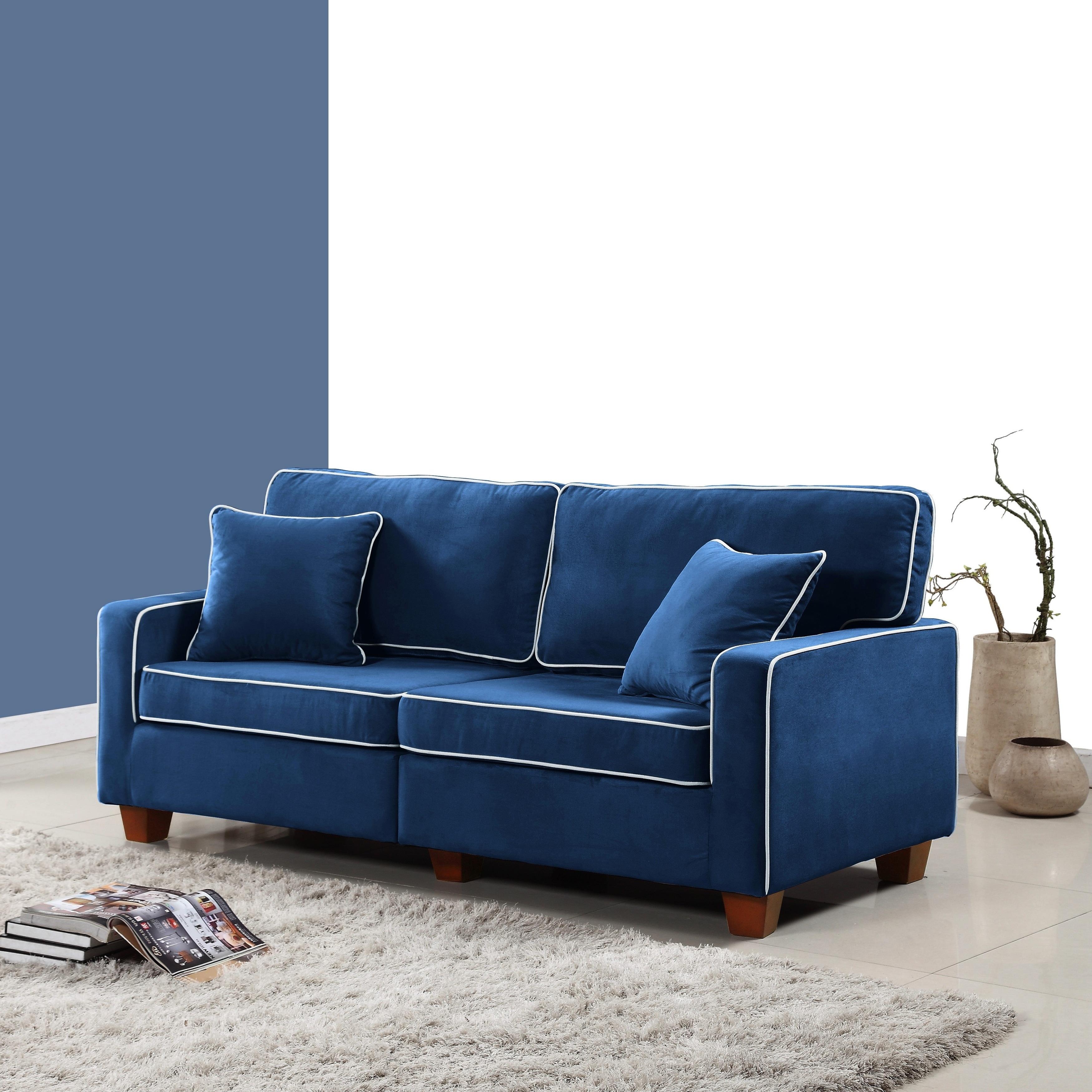Modern Two Tone Velvet Fabric Living Room Love Seat Sofa