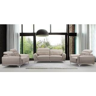 US Pride Furniture Morden Air Black/Grey/Yellow Leather/Wood Sofa, Loveseat and Chair (Pack of 3)