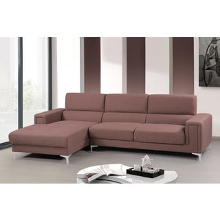 US Pride Furniture Audrey Brown/Grey Fabric/Wood Contemporary Left-facing Chaise Sectional Sofa Set