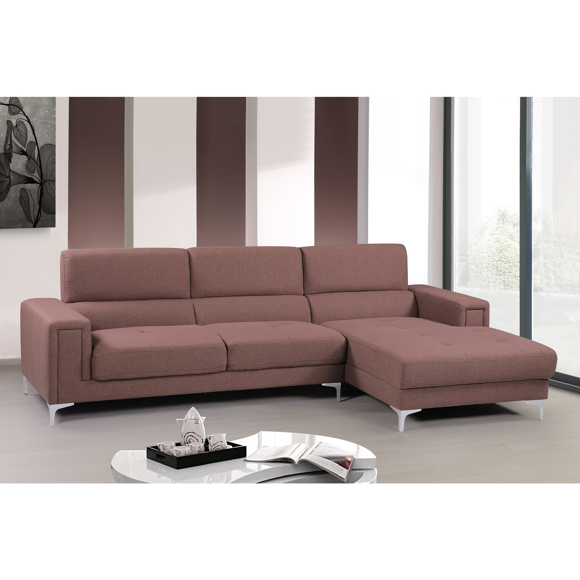 Audrey Contemporary Fabric Right-facing Chaise Sectional Sofa Set