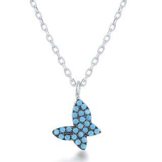 La Preciosa Sterling Silver Created Turquoise Butterfly Necklace