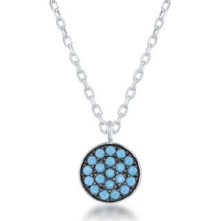La Preciosa Sterling Silver Created Turquoise Disc Circle Necklace