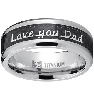"Oliveti Father's Day Gift "" Love you Dad, Thank you Dad"" Titanium Ring Band with Carbon Fiber Inlay"