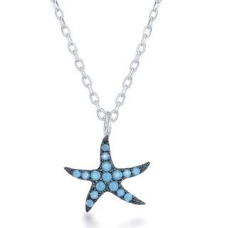 La Preciosa Sterling Silver Simulated Turquoise Star Necklace