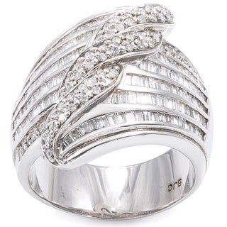 14K White Gold 2 1/3ct TDW Wide Band Channel-Set Swirl Diamond Ring (H-I, SI1-SI2)