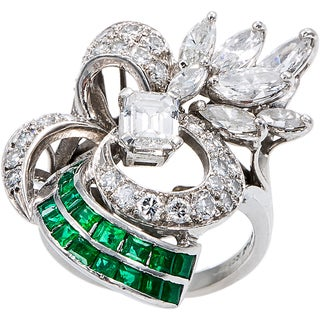 Platinum 2ct TDW Diamonds and Emerald Antique Cocktail Ring (H-I, SI1-SI2)