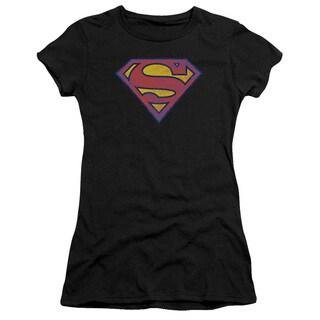 Superman/Sm Neon Distress Logo Junior Sheer in Black