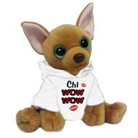 First and Main 7-inch Jaq Plush Dog with White Hoodie