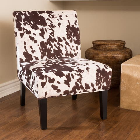 Saloon Fabric Cowhide Print Chair (Set of 2) by Christopher Knight Home
