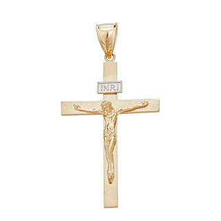 14k Two-tone Gold Religious Crucifix Cross Pendant