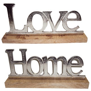 Love and Home Silver Aluminum Tabletop Plaques