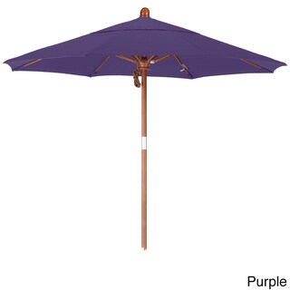 California Umbrella 7.5' Rd. Marenti Wood Frame, Fiberglass Rib Market Umbrella, Double Wind Vent, Pacifica Fabric (Option: stained wood finish/Purple)