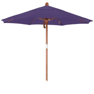California Umbrella 7.5' Rd. Marenti Wood Frame, Fiberglass Rib Market Umbrella, Double Wind Vent, Pacifica Fabric