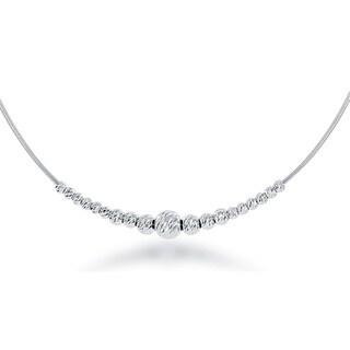 La Preciosa Sterling Silver Italian Diamond-cut Moon Beads Necklace