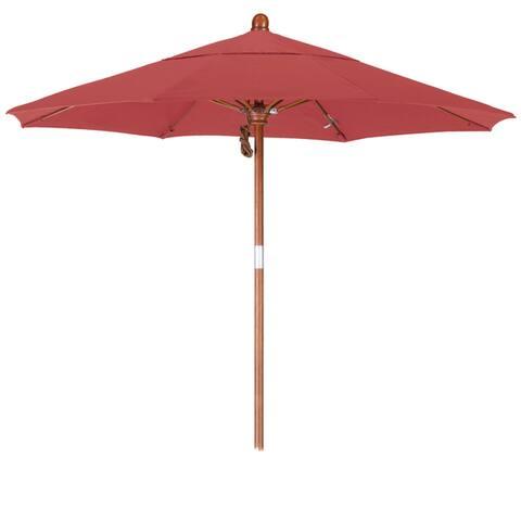 California Umbrella 7.5' Rd. Marenti Wood Frame, Fiberglass Rib Market Umbrella with Pacifica Fabric, Base Not Included