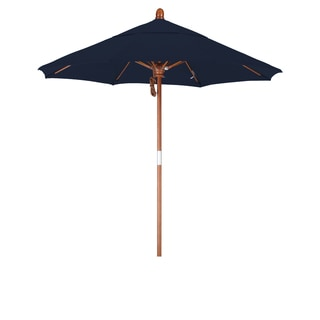 California Umbrella 7.5' Rd. Marenti Wood Frame, Fiberglass Rib Market Umbrella, Double Wind Vent, Sunbrella Fabric