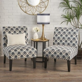Saloon Fabric Print Accent Chair (Set of 2) by Christopher Knight Home (Option: Yellow)
