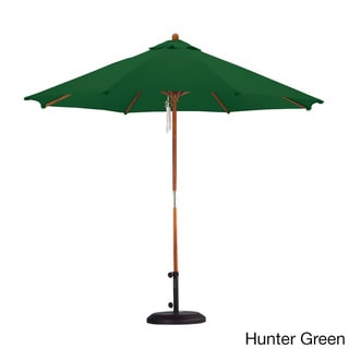 Sunline 9' Round Wood Market Umbrella,Pulley Lift System, Stained Natural Wood Finish, Outdoor Rated Polyester Fabric