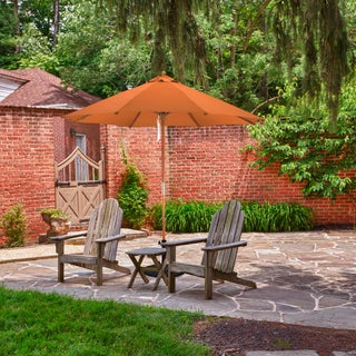 Sunline 9' Round Wood Market Umbrella,Pulley Lift System, Stained Natural Wood Finish, Outdoor Rated Polyester Fabric (More options available)