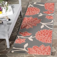 Safavieh Indoor/ Outdoor Courtyard Anthracite/ Beige Rug - 2'3 x 6'7