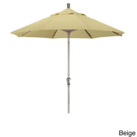 California Umbrella 9' Round Aluminum Crank Open Auto Tlit Market Umbrella, Champagne Finish, Pacifica Fabric