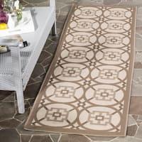 Safavieh Indoor/ Outdoor Courtyard Beige/ Dark Beige Rug - 2'3 x 6'7