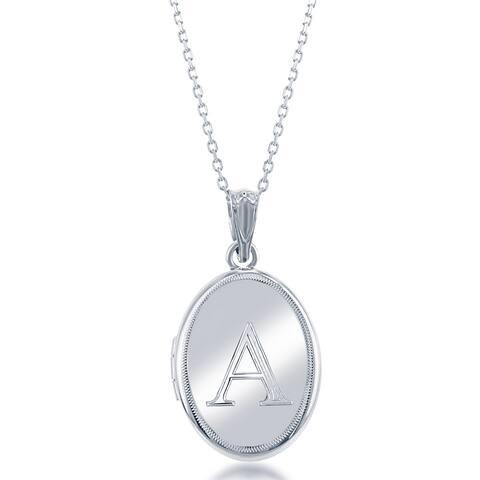 La Preciosa Sterling Silver 18-inch Oval High-polish Initial Locket
