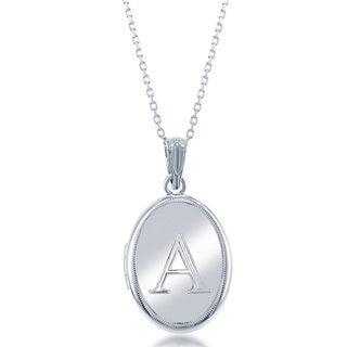 La Preciosa Sterling Silver 18-inch Oval High-polish Initial Locket