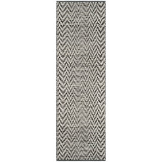 Safavieh Hand-Woven Montauk Ivory/ Dark Grey Cotton Rug (2'3 x 7')