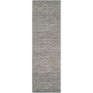 Safavieh Hand-Woven Montauk Ivory/ Dark Grey Cotton Rug - 2'3 x 7'