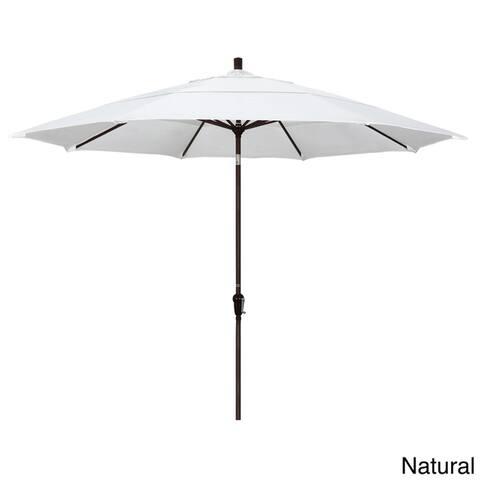 California Umbrella 11' Round Aluminum Crank Open Auto Tlit Market Umbrella, Bronze Finish, Double W
