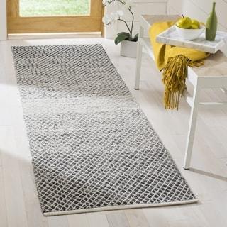 Safavieh Hand-Woven Montauk Black/ Ivory Cotton Rug (2' 3 x 7')